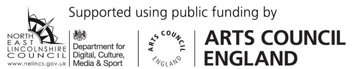 NELC Logo, gov logo for digital, culture, media and sport. and finally the Arts Council England Logo