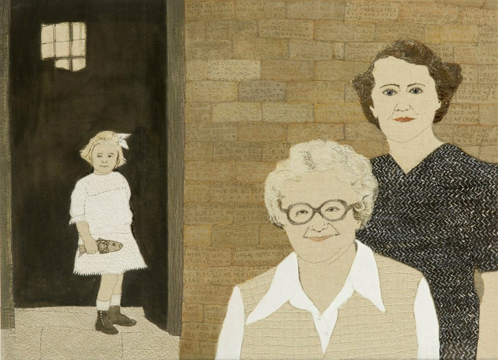 Artwork of three generations of females with the youngest in the background holding a fish.