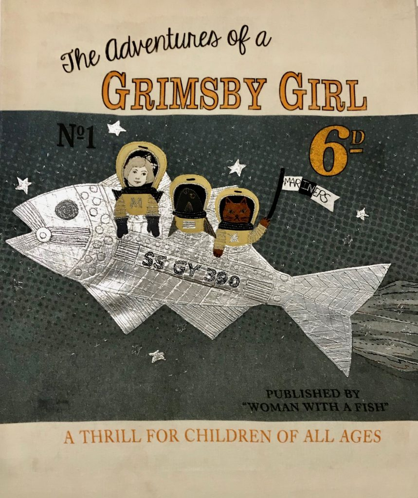 A book entitled 'The adventures of a Grimsby Girl' with the pciture of a fish and three people riding it.