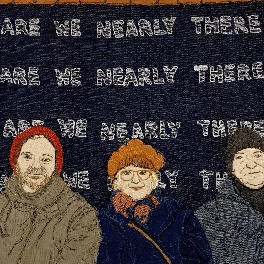 Artwork of three people with 'are we nearly there' written several times behind them