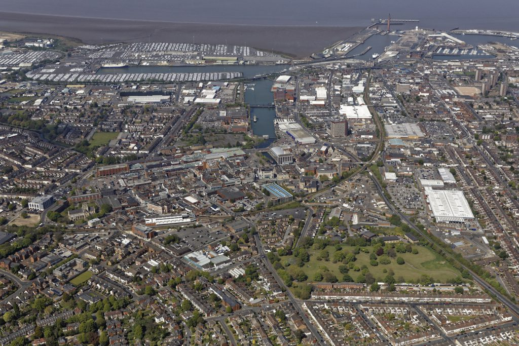 Birdseye view of Grimsby skyline looking towards the Docks from Town Centre.