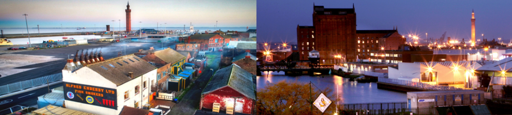 Grimsby skyline by day looking over industrial buildings towards the Dock Tower and lit up by night looking towards Victoria Mill and the Dock Tower.