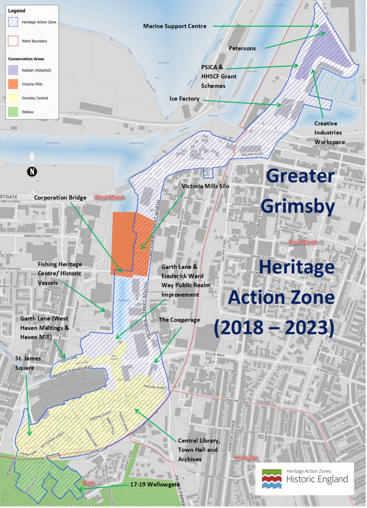 Image containing conservation areas of Greater Grimsby. These being the Kasbah, Victoria Mills, Grimsby Central and Wellow. This programme is summarised following the image.