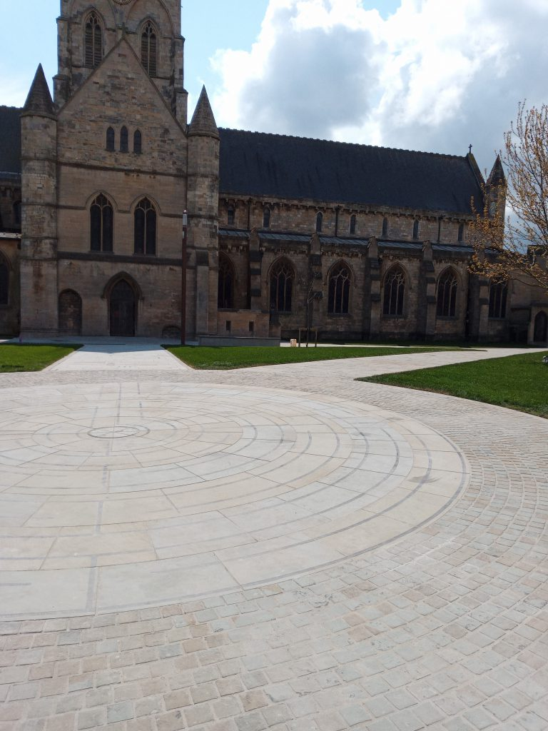 Circular pathway in front of Grimsby Minster